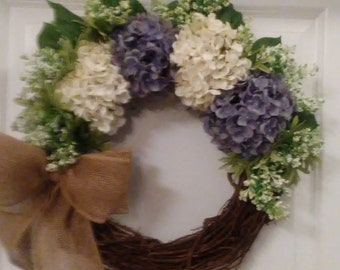 Purple and White Hydrangea with Burlap Bow