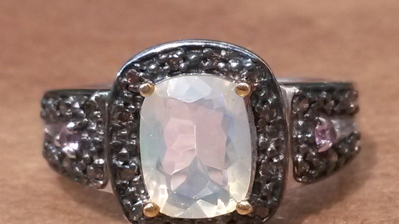 Pink Sapphire and Champagne Diamond ring UK size L Art Deco design Welo Opal
