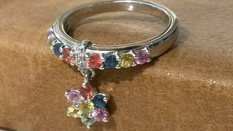 Natural Rainbow sapphire charm ring UK size N