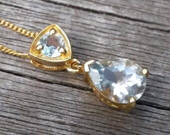 1ct natural Aquamarine pendant in 14k gold 925