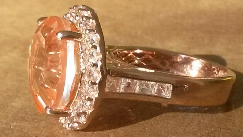 Huge laser cut Morganite quartz and white topaz ring UK N