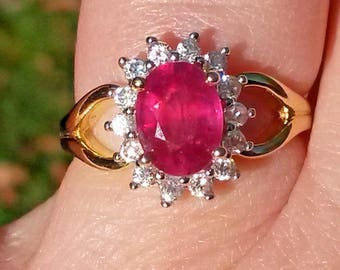 Natural Ruby and natural white Zircon halo ring in 14k gold 925 size L and T