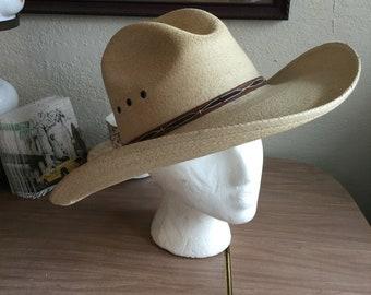"""Vintage style genuine palm leaf western traditional style """"cowboy"""" hat  (A390) 1b6fc4aab8e1"""