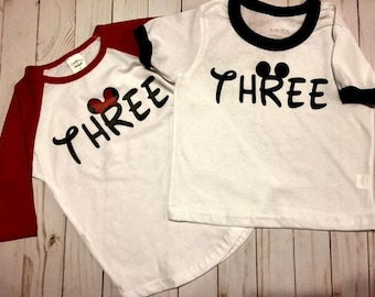 3rd Birthday Shirt, Mickey Birthday Shirt, Minnie Birthday Shirt, 3 Year Old Birthday Shirt, Ringer Shirt, Raglan Baseball Shirt, Gift