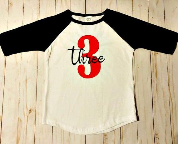 Toddler Birthday Shirt 3 Year Old Raglan Baseball Tee