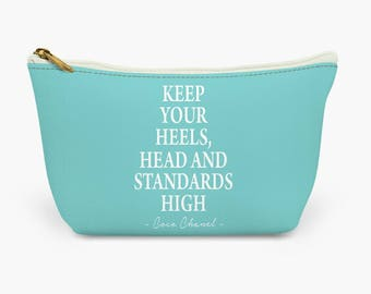 fd956fc8568 Keep your heels head & standards high Coco Chanel quote make up bag | Wash  bag | Inspirational Quotes| Gift | Designer Bag - TIFFANY BLUE