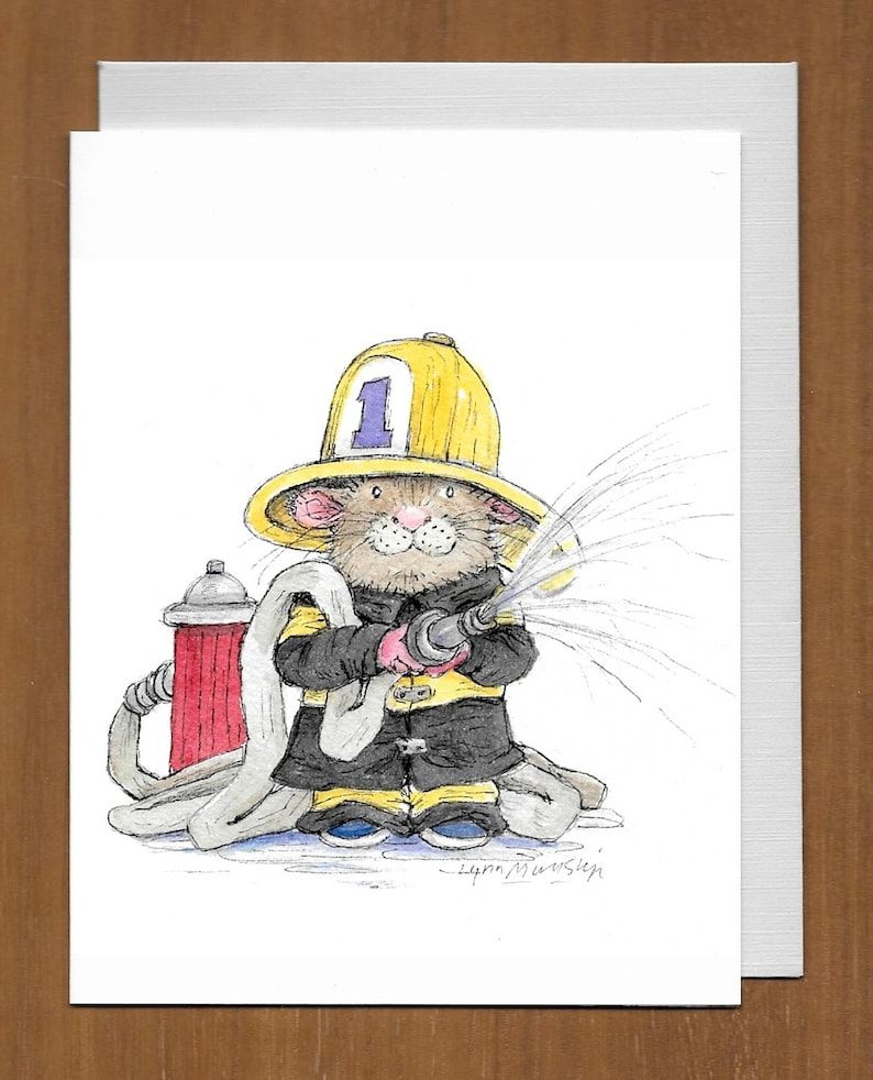 03 Firefighter With Hose Birthday Card Just In Case You