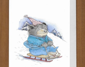 14) Bear Sledding Birthday Card -- May your wildest birthday wish come true!