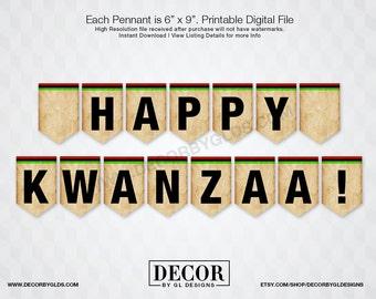 Kwanzaa Pennant Banner Sign, Kwanzaa Decorations. Printable Red, Black & Green Happy Kwanzaa Sign, Chevron Pennant Banner, Holiday Signs