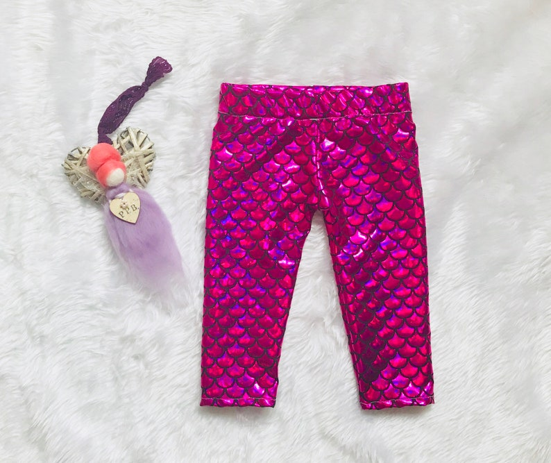 598810c22e794 Girls Pink mermaid leggings baby mermaid leggjngs toddler | Etsy
