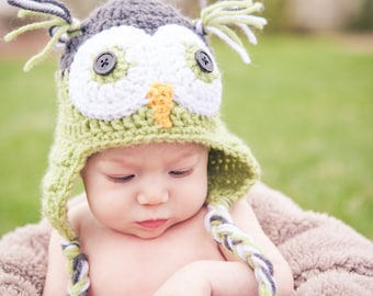 8a44d0a0c owl hat - boy hats - girl hats - winter crochet earflap hat - photo prop - baby  hats - newborn toddler child adult - baby shower gift
