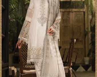 abe9ee55a3 Maria B eid lawn 2019 collection with organza duppata D7 white embroidered  fancy pakistani sana safinaz