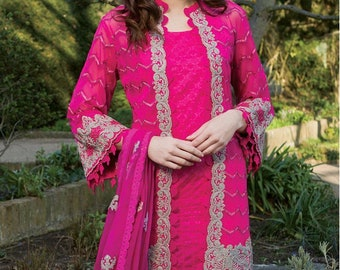 Size,Small FREE SHIPPING! Gulaal Pret Fancy Kurtis with whole embroidery on the whole short Large sammy k agha noor khaadi Medium
