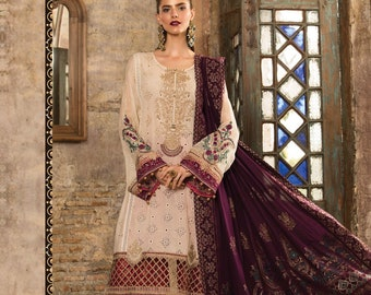 6e031dda63 Maria B eid lawn 2019 collection with silk duppata D2 off white purple and  red embroidered fancy pakistani sana safinaz