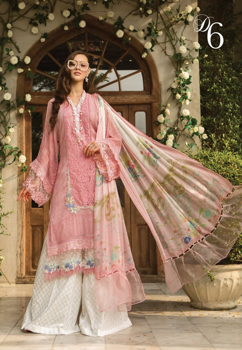 2031852ae5 Maria B eid lawn 2019 collection with silk duppata D606 pink | Etsy