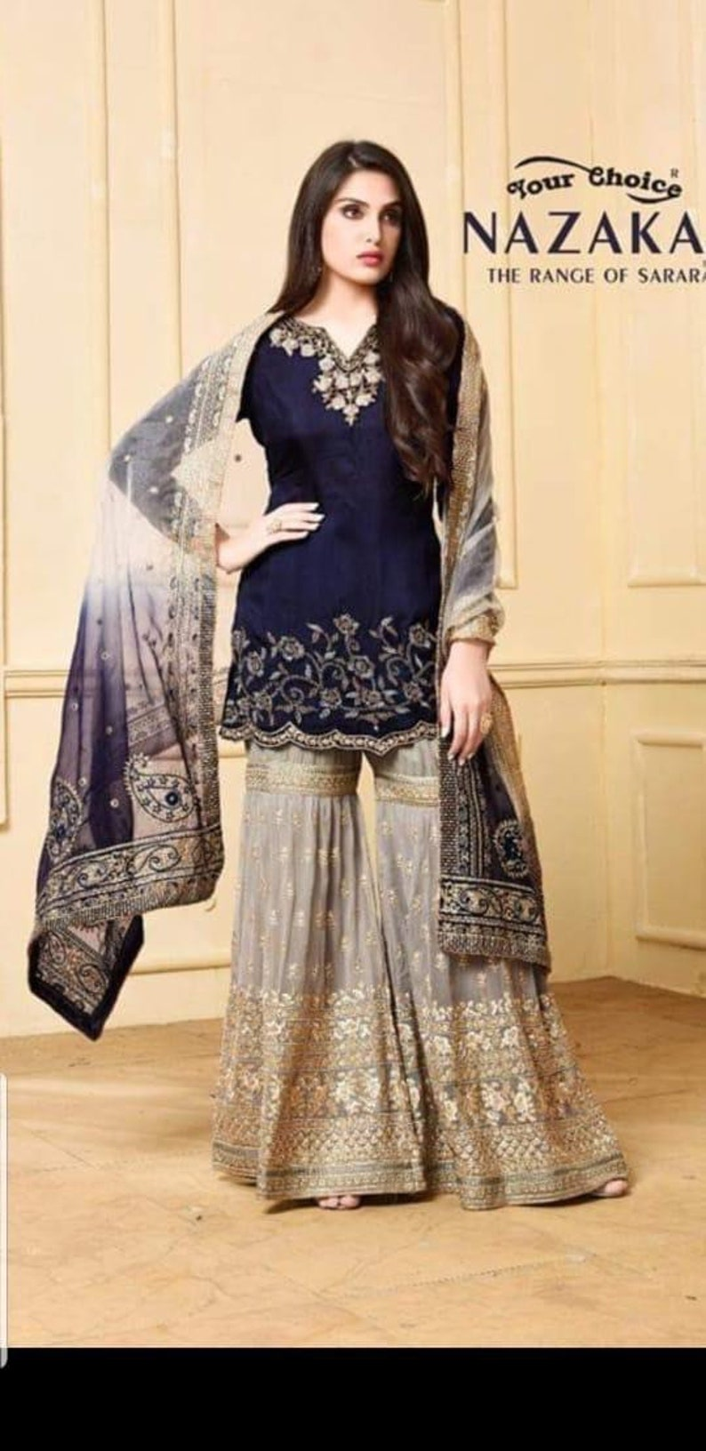 Nazaka Blue Chiffon Embroidered suit with gharara suit with net duppata  size, medium maria b sana safinaz gharara suits