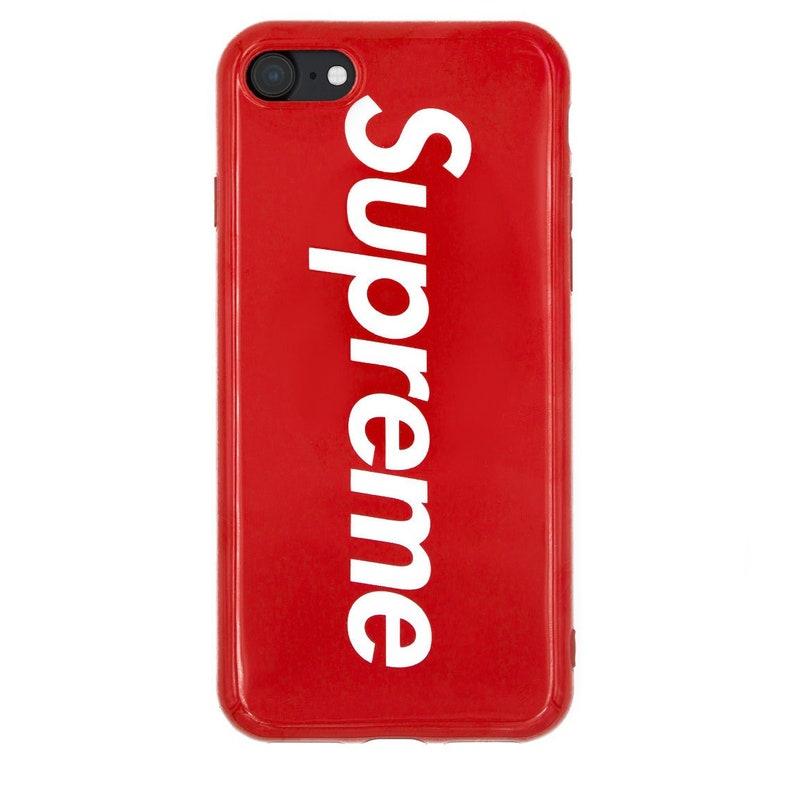 new concept 84a42 d62ab Supreme Red Custom Apple iPhone XR 5s SE 6 6s Plus Phone Box Logo Soft Case