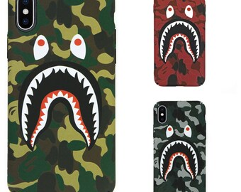 Apple iPhone X 6/6s 7/7 Plus 8/8 Plus Bape A Bathing Ape Shark Logo Phone Case