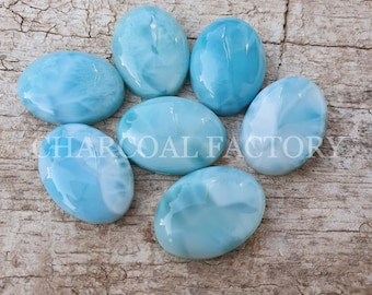 Wholesalegems Natural Larimar Smooth Round Shape Cabochons Larimar Cabochons High Quality 2 Pieces 13-13.5 MM Size