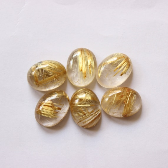 4 Pieces Natural Golden Rutile Carved Cabochons Lot 13x16mm to 14x18mm Oval Shape Rutile Carving Gemstone Cabs Loose Stones Semi Precious
