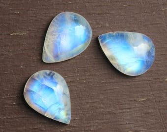 Moonstone, Natural rainbow moonstone, pear shape rainbow moonstone, calibrated, flat back cabochon, sizes available from 6x4 mm to 30x20 mm