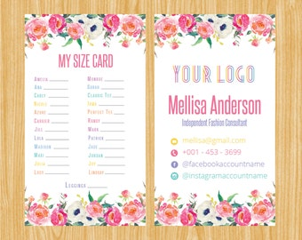Printable My Sizes Card Size Cards Business Home Office Approved Colors Digital