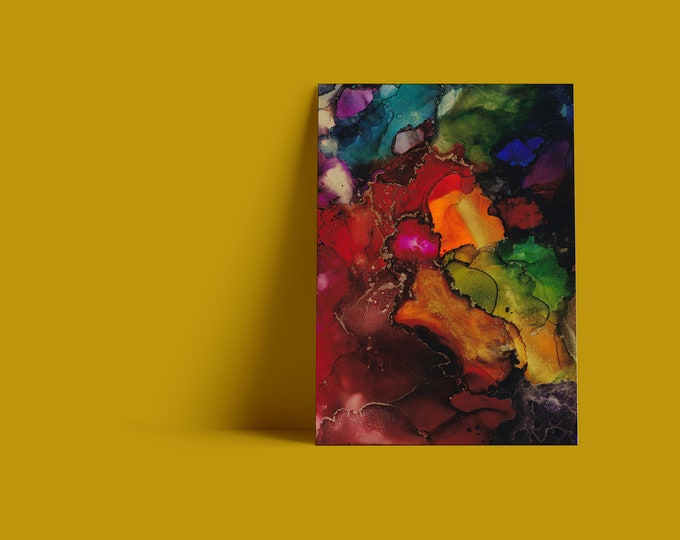 Jessamyn Fine Art Print in Rainbow Tones of red, orange, green, purple, blue & aqua with metallic gold accents