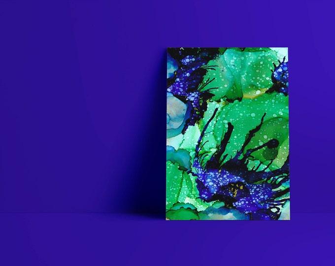 Isobel: INSTANT DOWNLOAD Cobalt, Emerald, Green, Teal, Blue, Purple and Navy Abstract Art Print Alcohol Ink, Fine Art, Digital Download