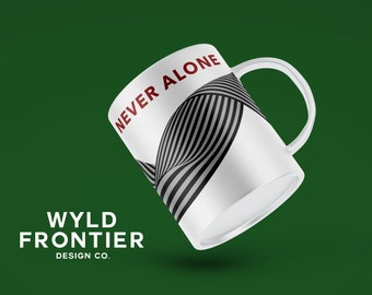NEVER ALONE graphic printed mug gift supporting family during crisis part charity donation mental health
