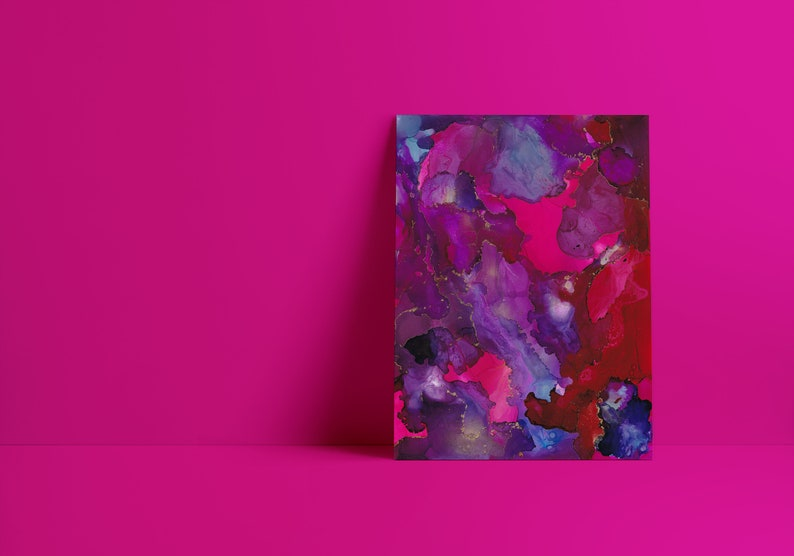 purple Mae Fine Art Print in tones of blue violetand metallic gold red