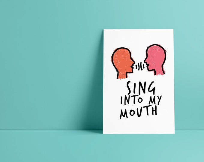 Featured listing image: Sing into My Mouth Minimalist Pop Culture Art Print