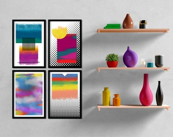 Set of 4: Dots Series Abstract Minimalist Art Print available in multiple sizes