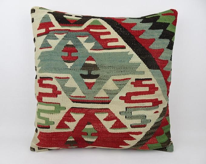 Patchwork Tribal Turkish Kilim Pillow,Livinroom Decoration 20x20 Colorful Handmade Carpet Rug Pillow,Kilim Pillow,Oushak Lumbar Pillow 1684