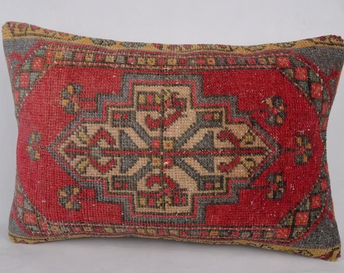 Oushak Rug Pillow Cover,16x24 inch 40x60 Cm Vintage Handmade Turkish Carpet Rug Pillow Cover,Pastel Carpet Pillow Cover,Cushion Cover.