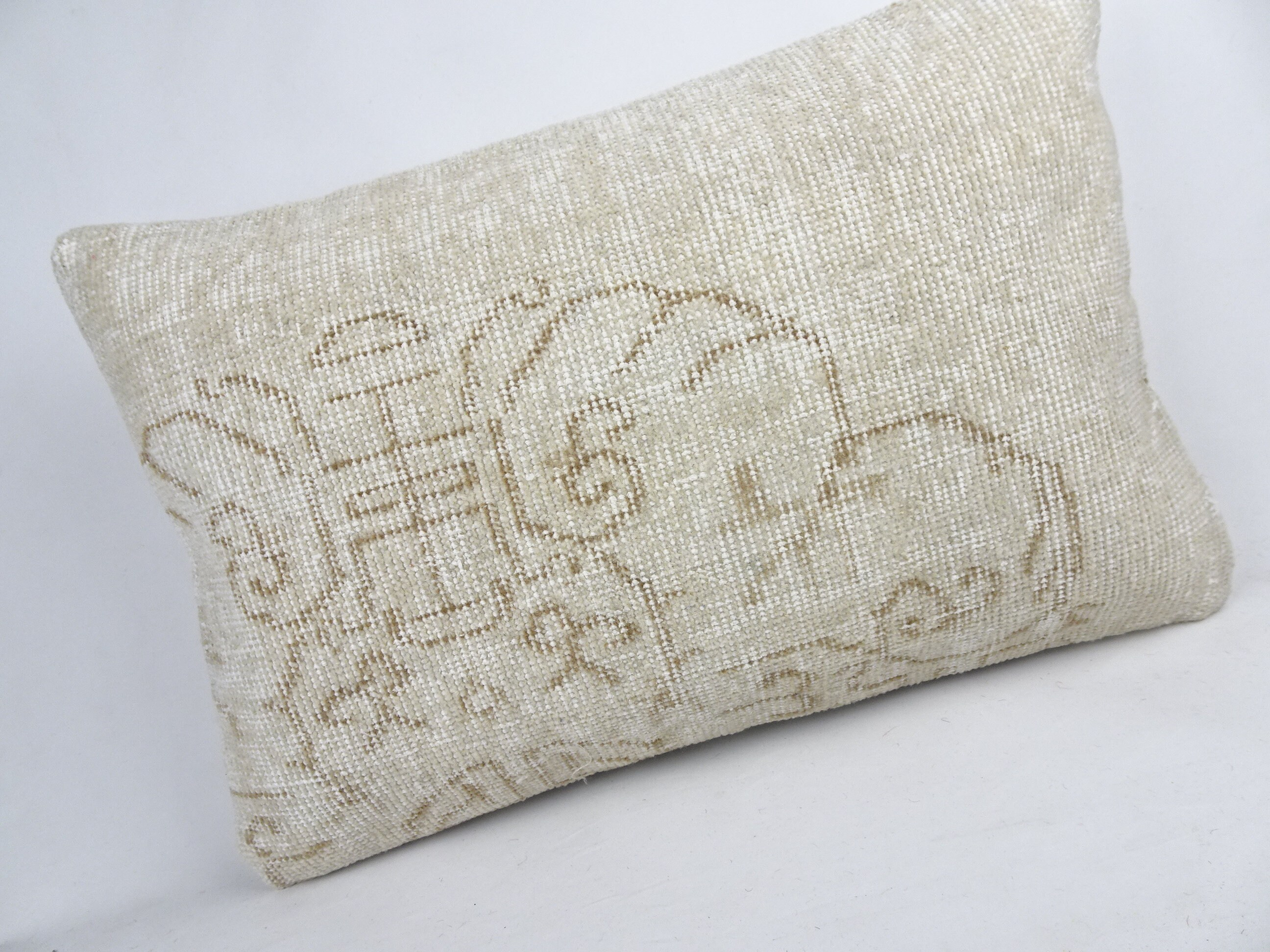 Oushak Rug Pillow,24x16 inch 60x40 Cm Turkish Carpet Pillow,Turkish Handmade Pillow,Lumbar Pillow Cover,Bohemian Decorative Carpet Pillow.
