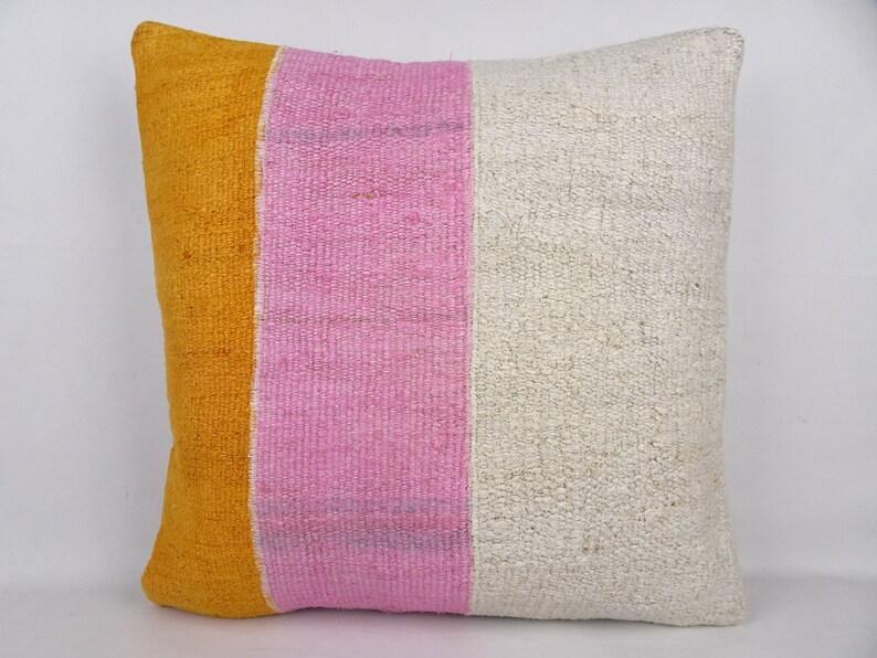 Orange,White,Pink Hemp Kilim Pillow Cover,20/'x20/' inch Gorgeous Organic Hemp Kilim Pillow Cover,Patchwork\u00a0Kilim Pillow,Turkish Pillow Cover.