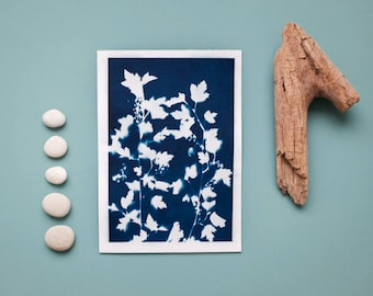 """Original cyanotype """"Flowering shrub"""" on bulky drawing paper in DIN A5 format"""