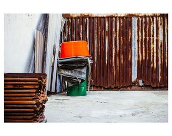 Fine art print 'Backyard buckets' with white border on UV photo paper (70x50cm)