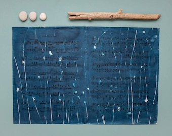 """Original cyanotype """"Blades of rush"""" on old, double-sided sheets of music"""