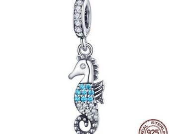7192b22aa 100% Genuine 925 Sterling Silver Nautical Seahorse Ocean Dazzling CZ Pendant  Charms Fit Pandora Bracelets Pendant Necklace Jewelry