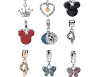 Official Disney World 3 Dark Blue Swarovski Crystals Mickey Mouse Clip On Charm To Adopt Advanced Technology Charms & Charm Bracelets