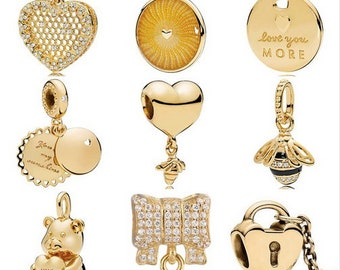 d615e18e1 100% Genuine 925 Sterling Silver Gold Color Shine You Are My Sunshine  Honeycomb Lace Heart Bee Pendant Charms Fit Pandora Bracelet
