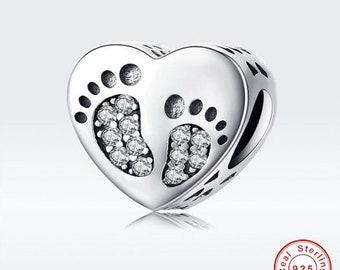 4 Heart footprint handprint charms antique silver tone P585