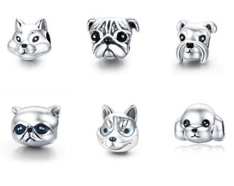 Black Cat Animal Face 925 Sterling Silver Charm Bead DIY S02