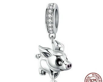 670ca2191 100% Authentic 925 Sterling Silver Delicate Piggy Pig Animal Pendant Charms  fit Silver Bracelets & Girlfriends Jewelry