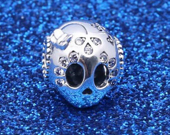 d2ae1d519 100% Authentic 925 Sterling Silver Sparkling Skull Charm fit Pandora Charm  Bracelet Halloween Jewelry Making Accessories