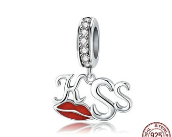 d25bd5bb7 100% Genuine 925 Sterling Silver Sexy Red Lips Kiss Charm Pendant fit Charm  Bracelet Necklace DIY Jewelry