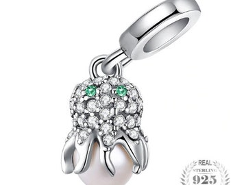 fdbe2e173 100% Genuine 925 Sterling Silver Sea Love Octopus Cubic Zirconia Pearl  Charm Pendant fit Pandora Charm Bracelet & Necklace Silver Jewelry