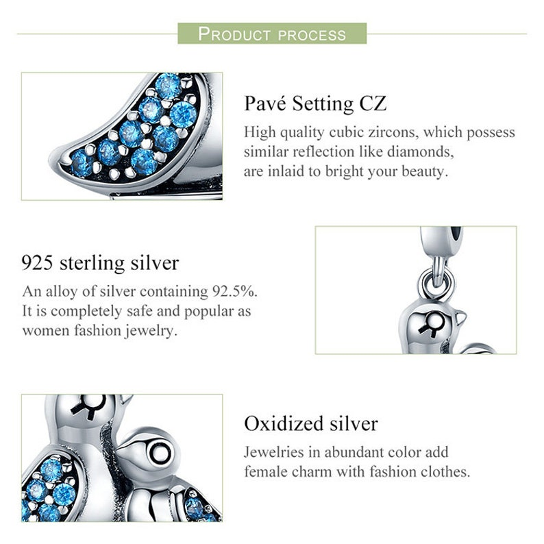 100/% Genuine 925 Sterling Silver Cute Bird Dependency Clear CZ Pendant Charms fit Bracelets Necklace Jewelry Making