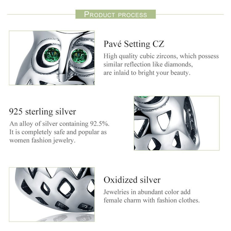 100/% Genuine 925 Sterling Silver Lovely Owl Openwork Clear CZ Animal Charms fit Women Bracelets Jewelry Making
